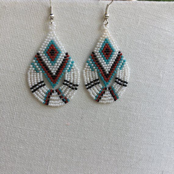 Native American Style Brick Stitch Beaded Teardrop Fringe Earrings