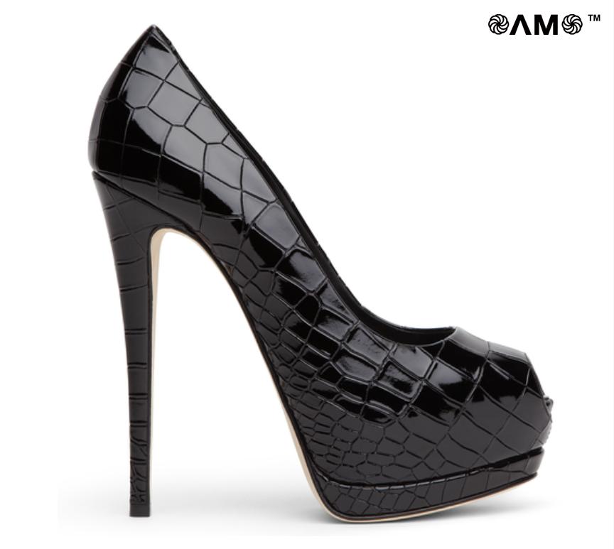 6203f3f3fc6c Giuseppe Zanotti SHARON Black crocodile-print patent leather pump + ...