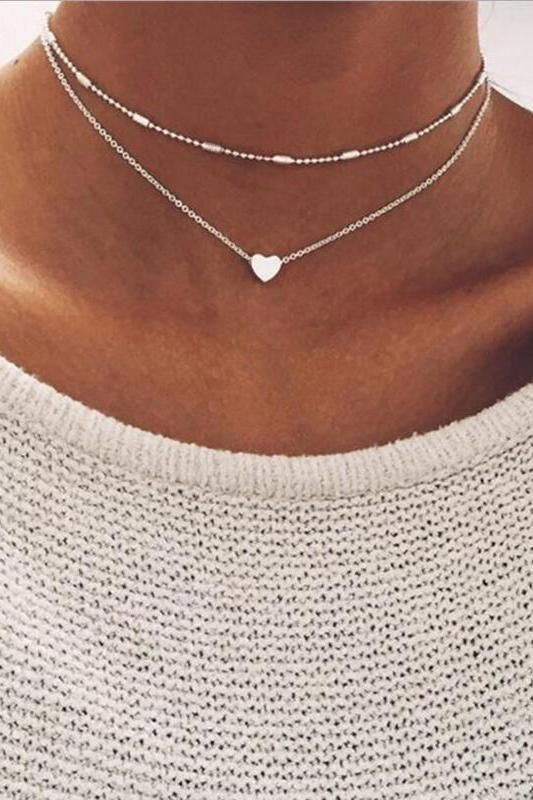 Cute Simple Modest Heart Choker Necklace in Silver Double Layered Statement Jewe