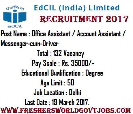 EdCIL Recruitment 2017 Post Name  Office Assistant / Account - office assistant job description