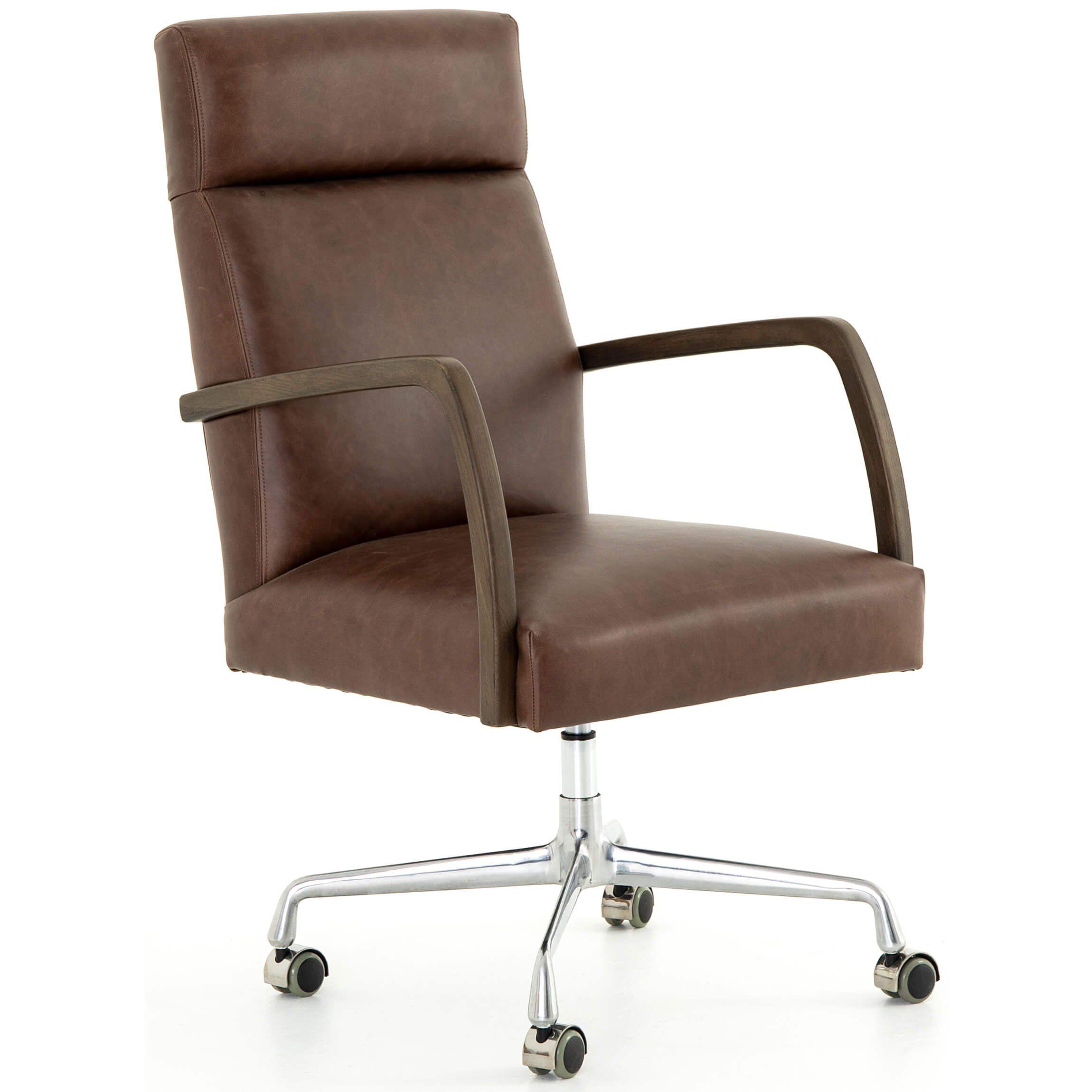 Bryson Leather Desk Chair Havana Brown In 2019 Desk Chair