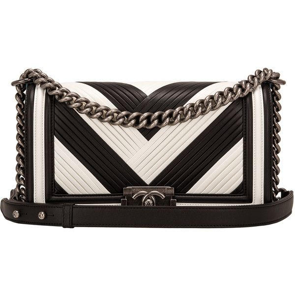 87965bf54960 Pre-Owned Chanel Paris In Rome Black and White Pleated Calfskin Medium...  ( 7