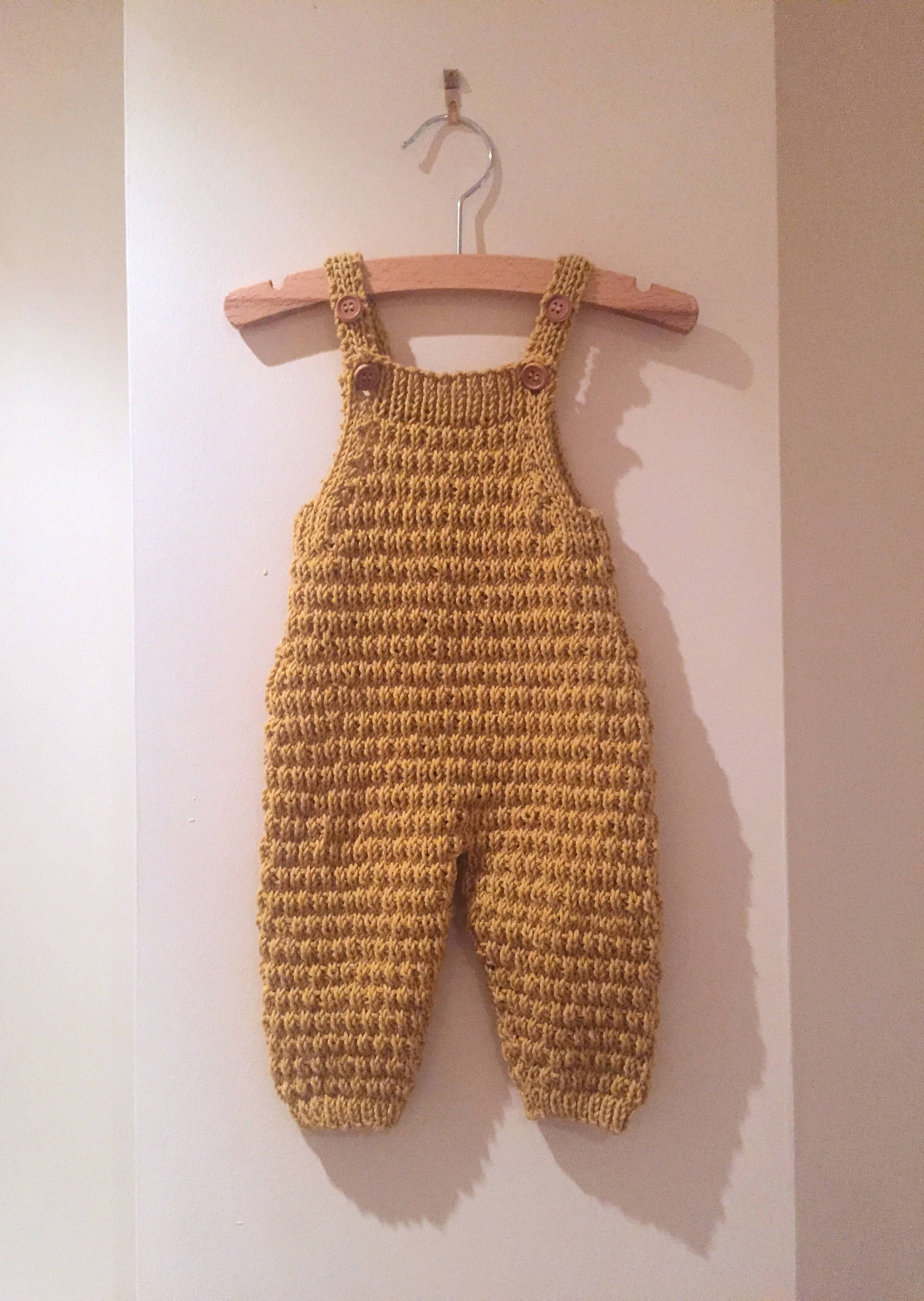 How to master knitting overalls for a newborn 45