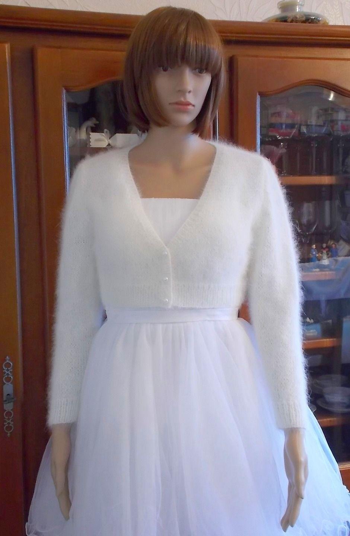 15f618b20 Sur commande   Gilet Boléro Femme Angora Blanc