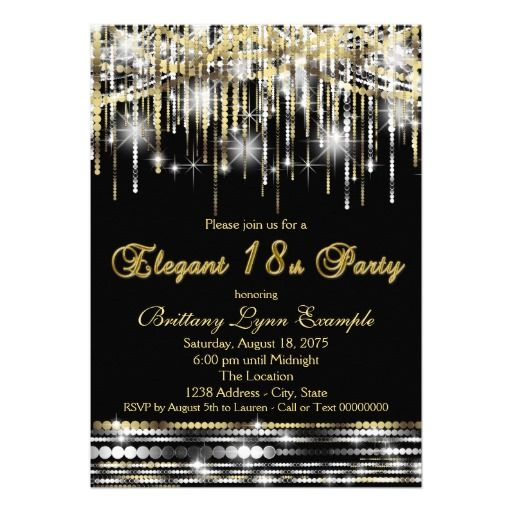 Glam Black Gold Elegant 18th Birthday Party Card