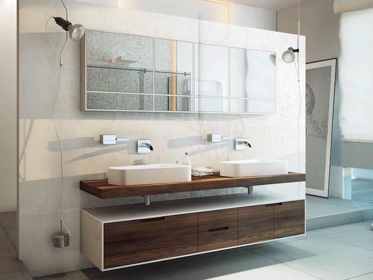 meuble salle de bain vasque a poser en bois