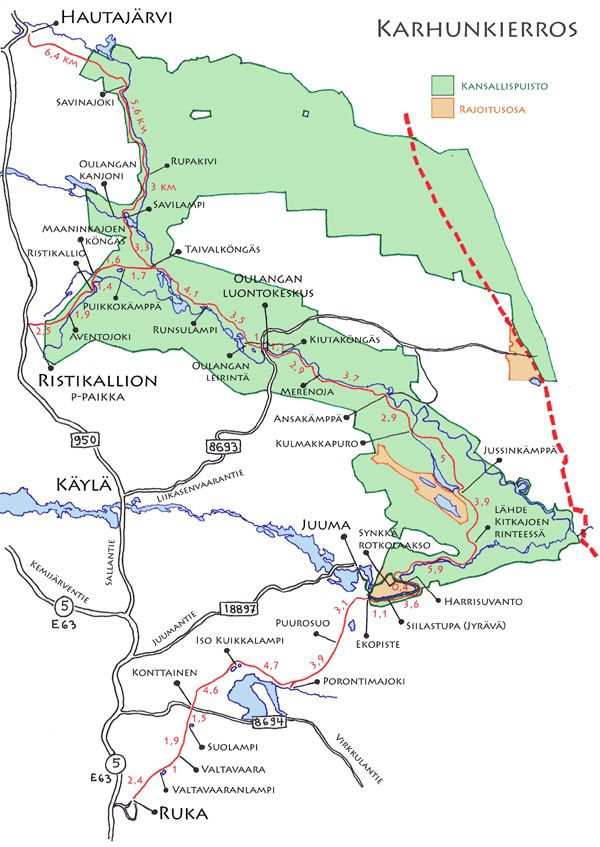 Karhunkierroskartta Ruka Kuusamo Ruka Fi Kansallispuistot