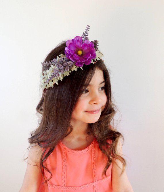 Purple Flower Crown- Lavender Baby Headband- Bridal Headpiece- Purple  Wedding Crown- Wedding Hair - a800d45af6d