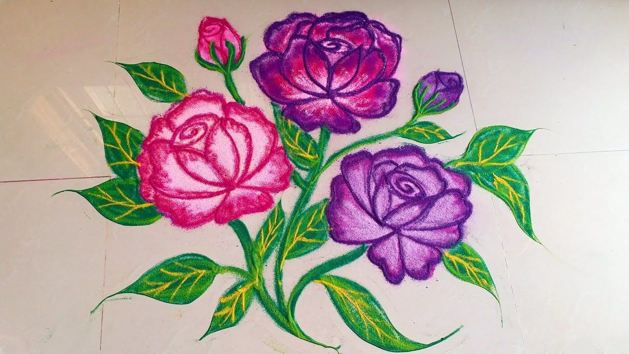 How To Draw Beautiful Rose Flower Rangoli Designs With Colours Creative Muggulu Unique Kolam Flower Rangoli Colorful Rangoli Designs Rangoli Designs