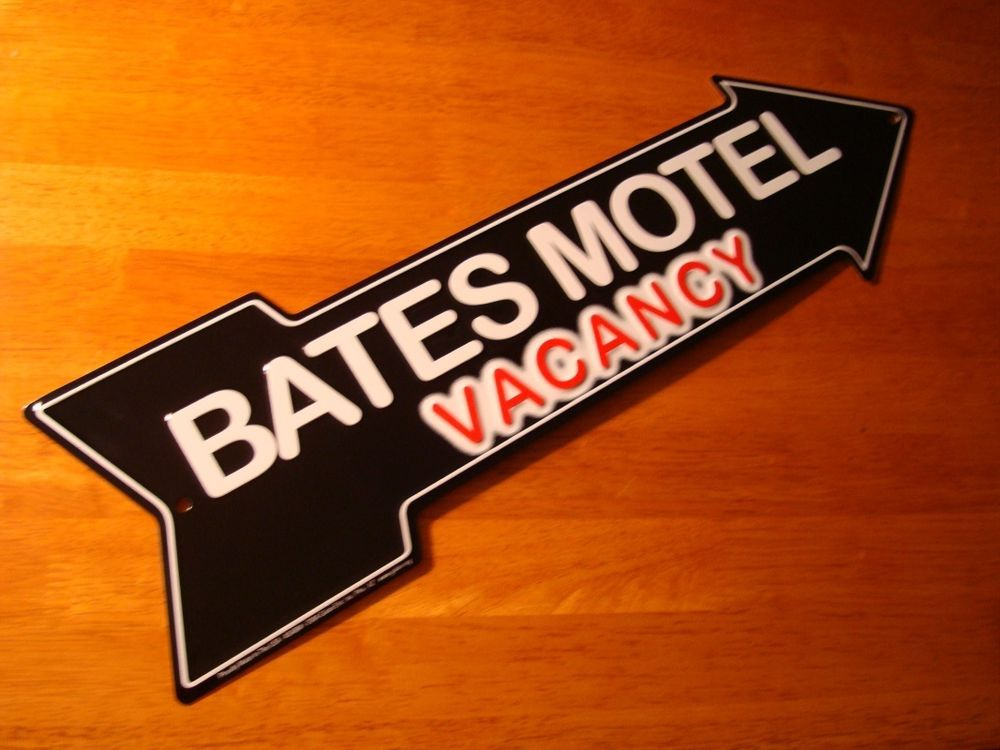 BATES MOTEL VACANCY ARROW Black  Red Halloween Sign Haunted House