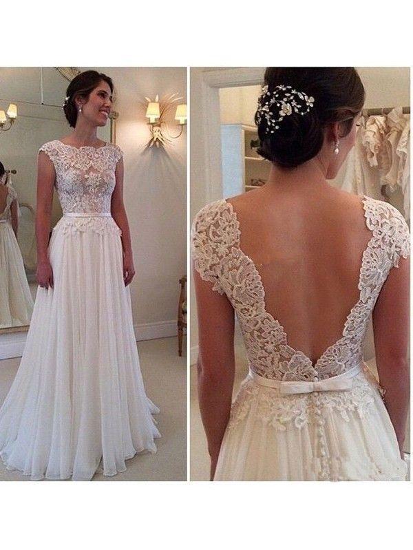 A-Line/Princess Scoop Sleeveless Applique Floor-Length Chiffon Dresses