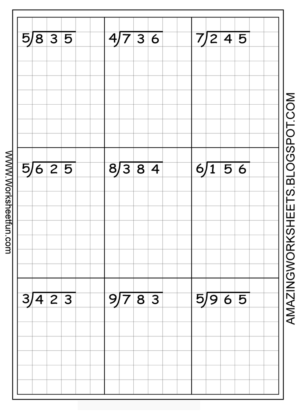 Long Division Worksheets Free Using Graph Paper