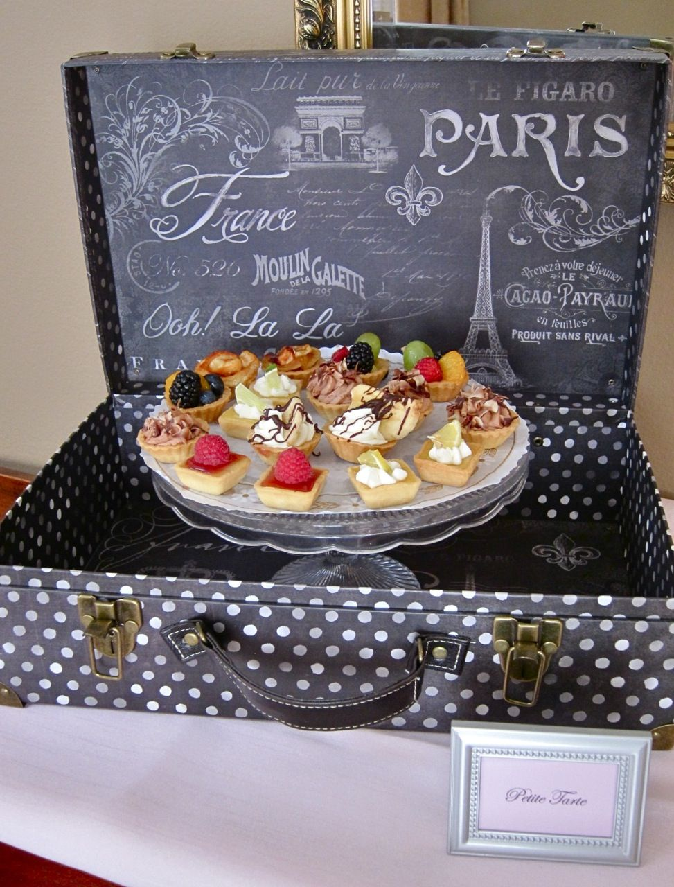 recipe themed bridal shower invitation wording%0A Chic French Bridal Shower Spring       Petite Tarts in Suitcase