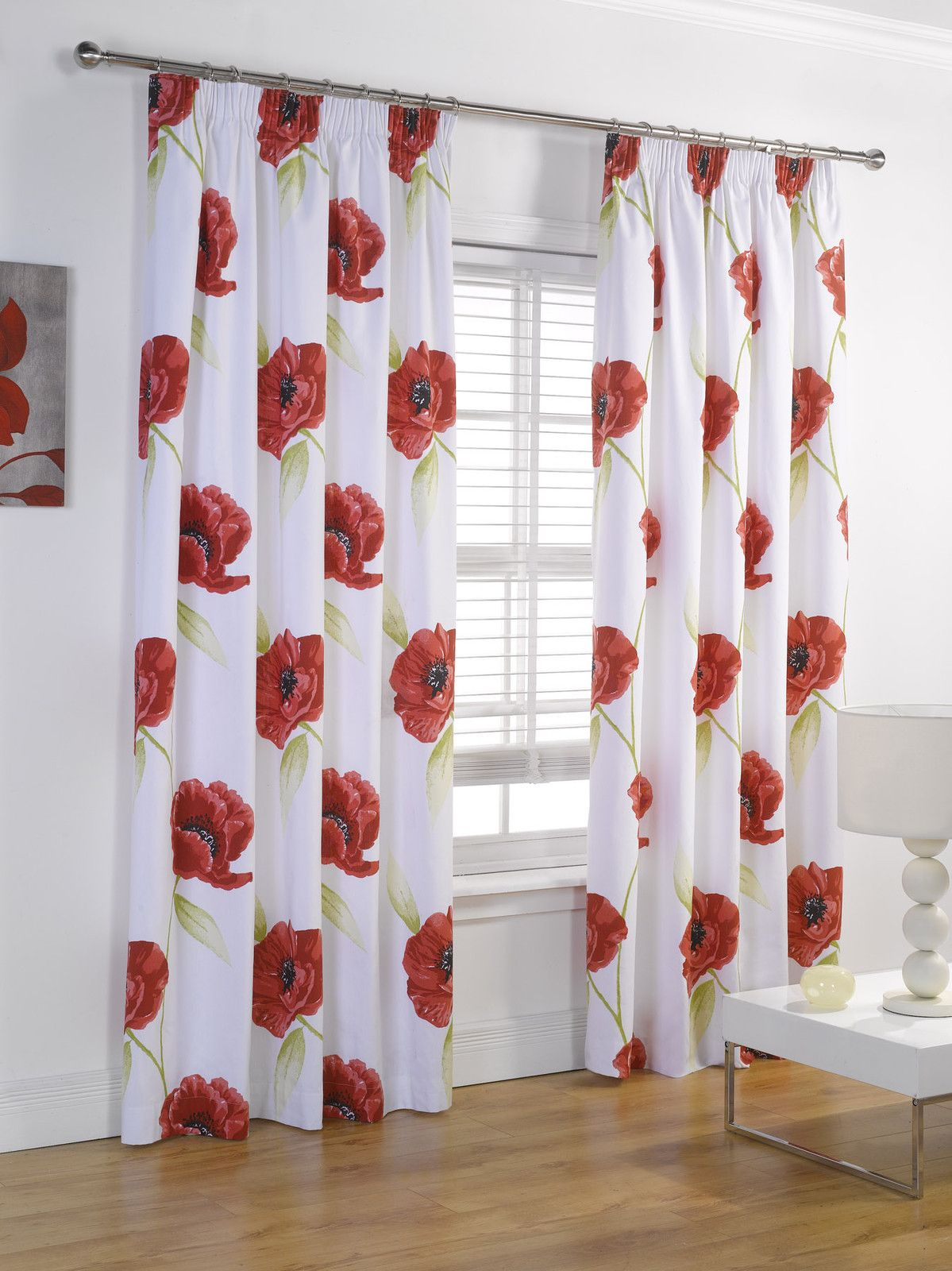 Fully Lined Red Amp Cream Floral Poppy Print Curtains In 8