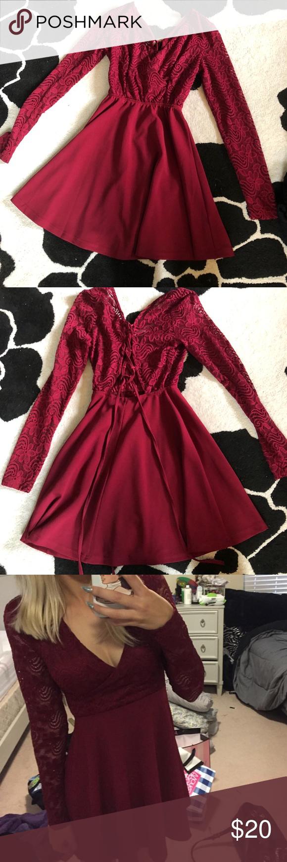Windsor Burgundy Lace Long Sleeve Skater Dress Long Sleeve Skater Dress Dresses Long Sleeve Lace [ 1740 x 580 Pixel ]