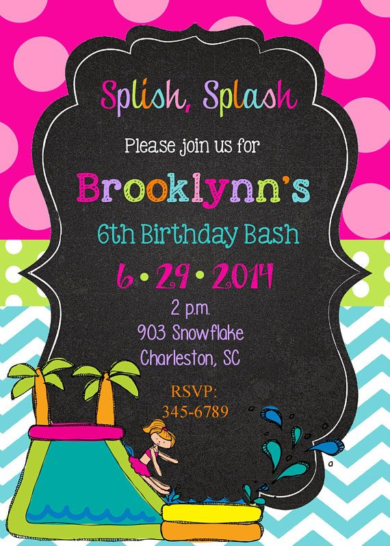 12 Waterslide Water Party Pool Invitations With