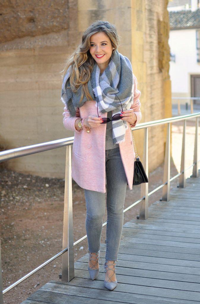 Pink coat, grey scarf, and heels