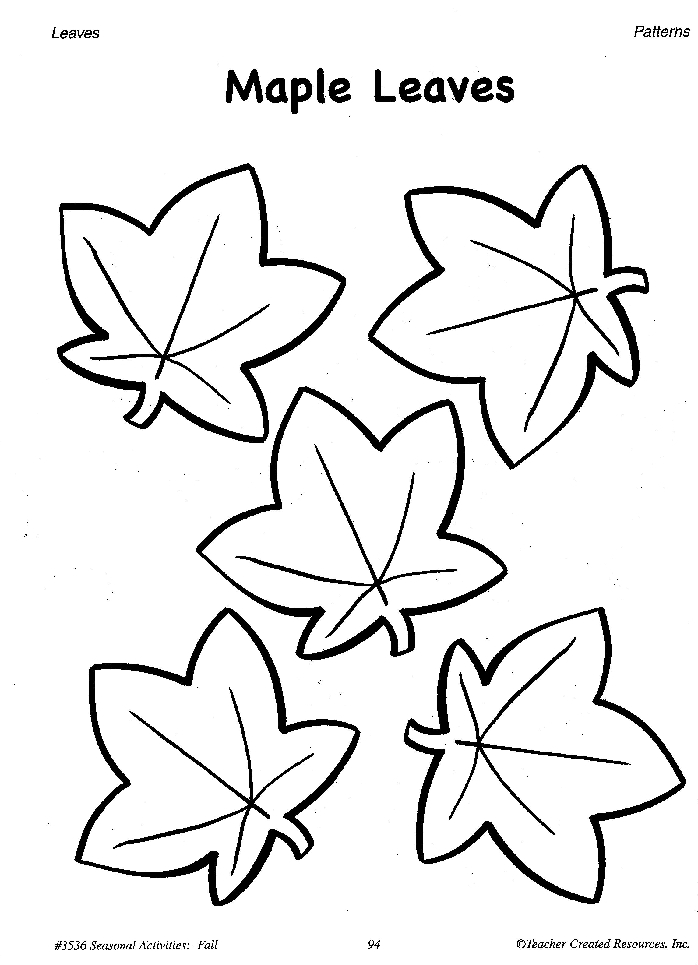 - Printable Fall Leaves Patterns A Sample From The Teacher Resource