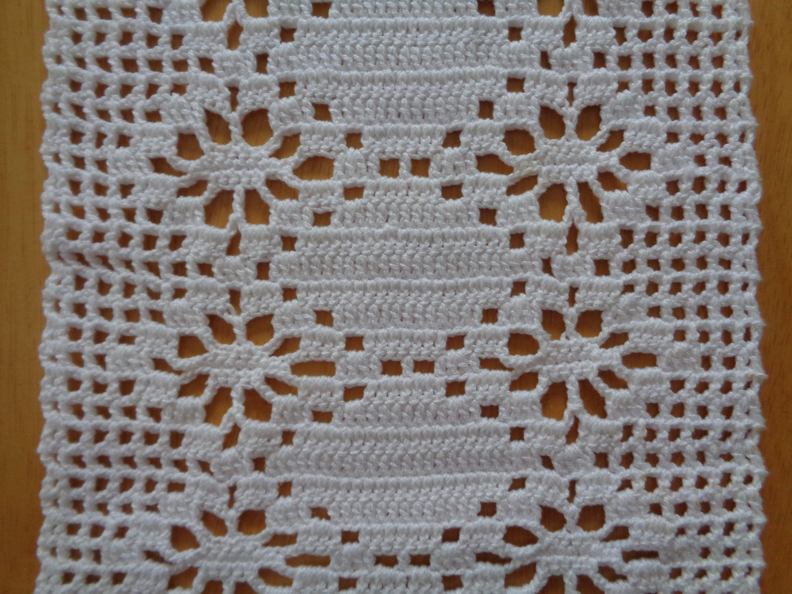 Vintage Crochet Table Runner Small Table Runner 8 X 32 Hand