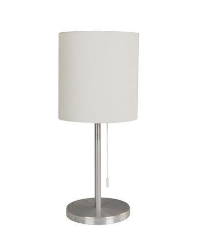 Bree 1 light small table lamp in brushed chrome with white shadelighting beacon lighting