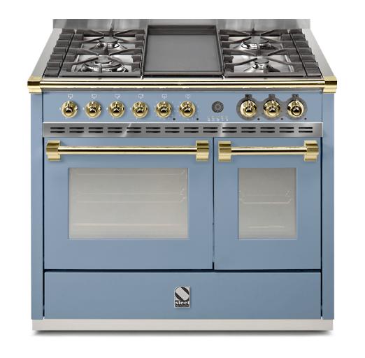 Cocina De Gas De 100cm Con 4 Quemadores Una Plancha Y Doble Horno Multifuncion Color Azul Celeste Y Tiradores En Color Cocina De Gas Planchas De Gas Cocinas