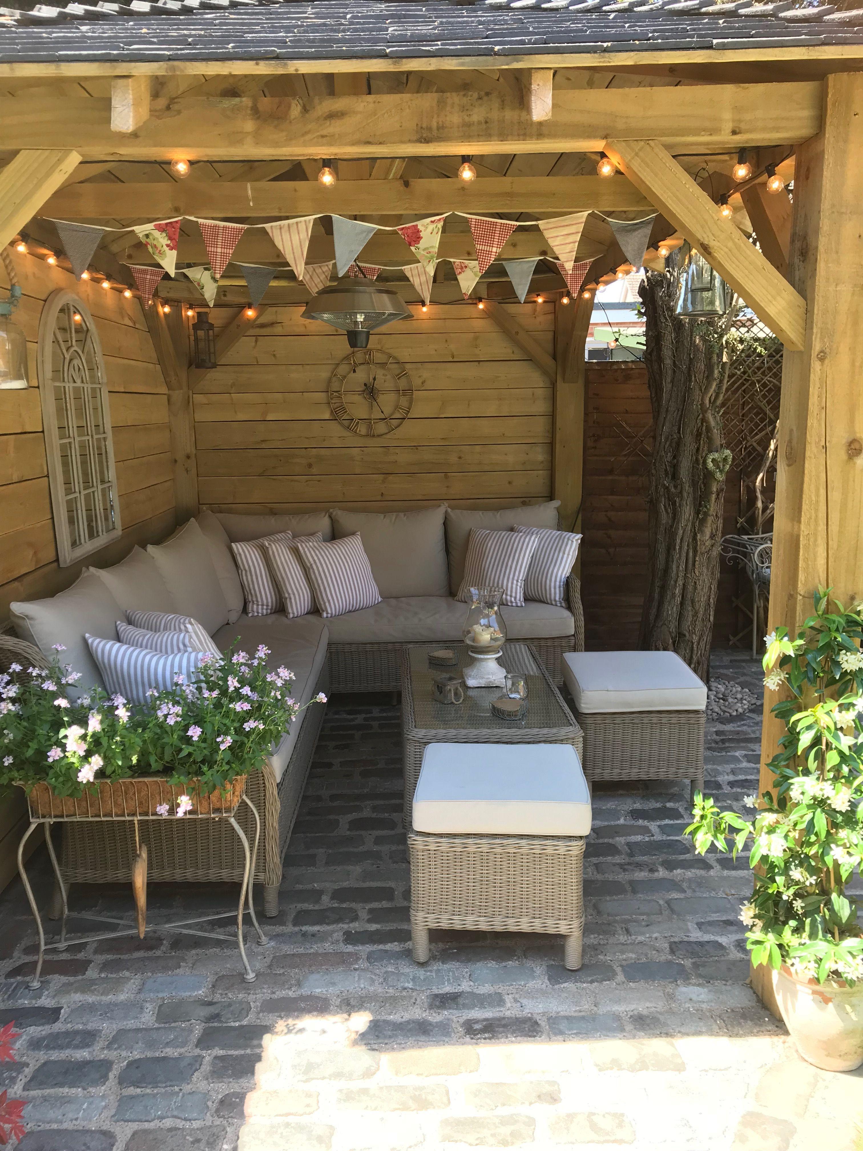 Cottage garden gazebo, homemade, bunting, outdoor seating ...