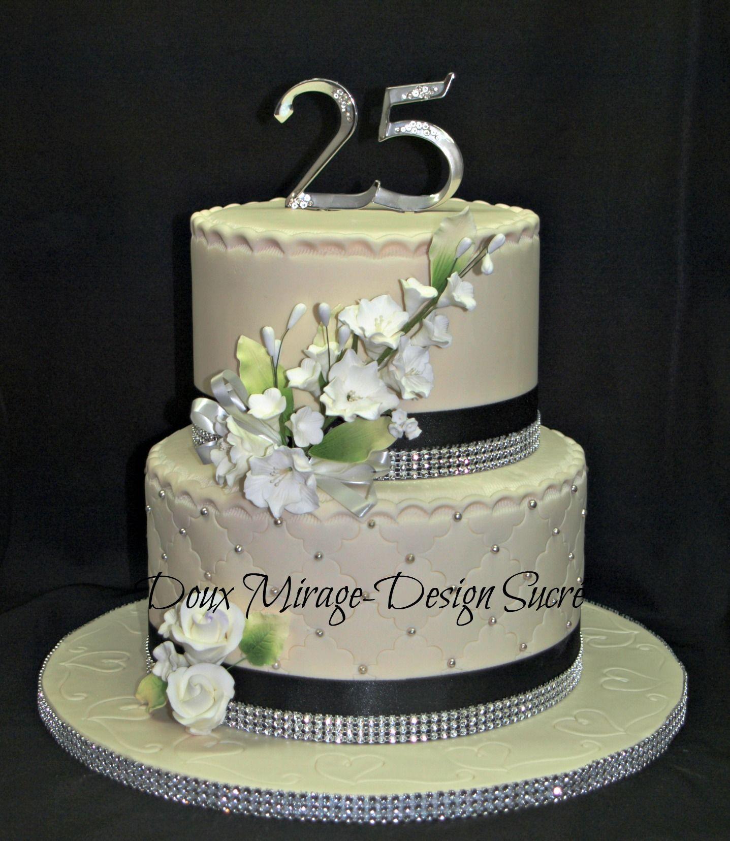 g teau 25e anniversaire de mariage 25 wedding anniversary cake doux mirage design sucr. Black Bedroom Furniture Sets. Home Design Ideas