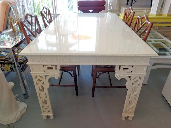 Hollywood Regency Style Fretwork Dining Table Dining Table Dining Chinoiserie Decorating
