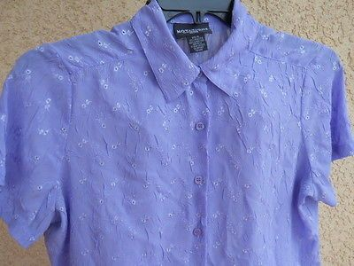 Notations Petite L Shirt Purple PL Top Eyelet Floral Embroidery Crinkle New NWOT