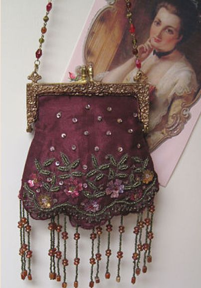 57b0637d27cd ... Lady s vintage hand bag. Victorian beaded burgundy purse
