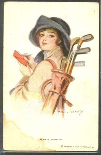MY187-a-s-EARL-CHRISTY-ALWAYS-WINNING-Portrait-de-FEMME-CHAPEAU-GOLF-LADY #SuccedingAtGolf