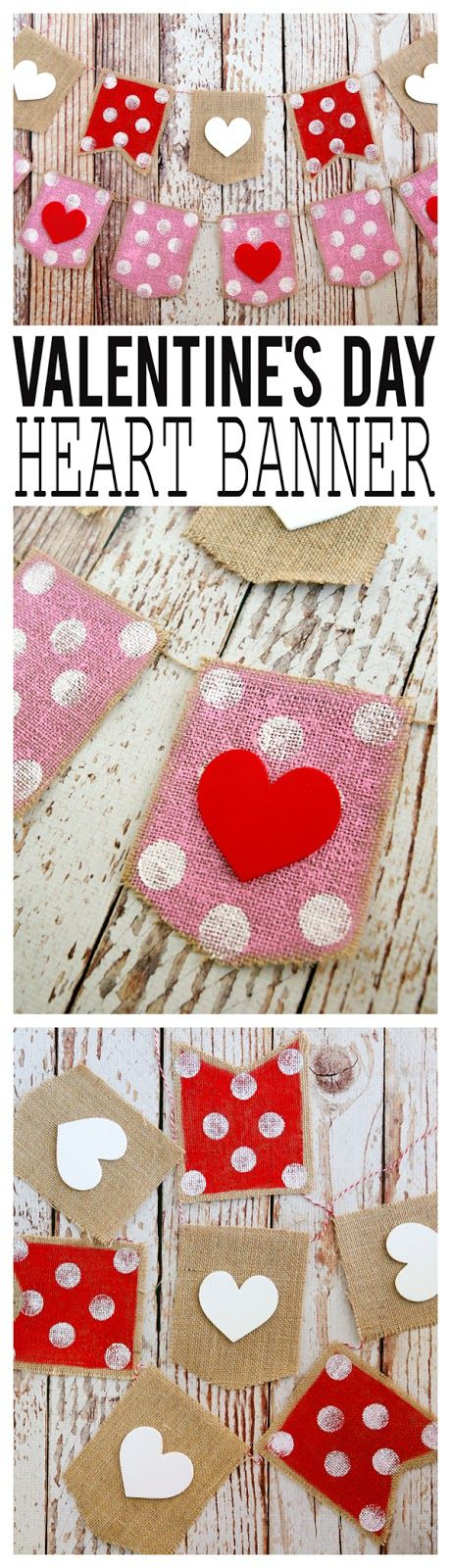 Valentine\'s Day heart banner. SO cute!! Absolutely love this idea ...