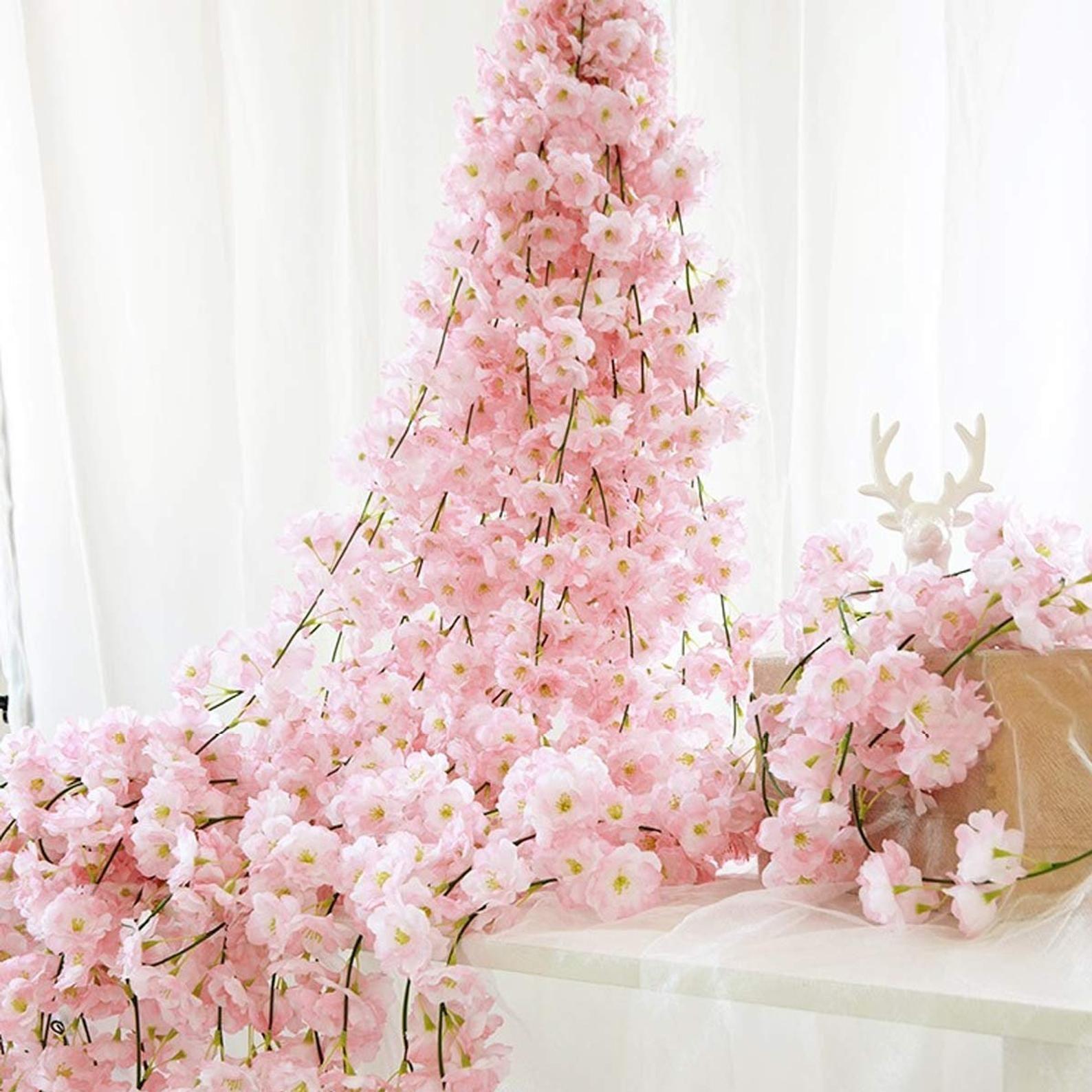 Artificial Cherry Blossom Garland For A Wedding Arch Or Arbor Etsy In 2021 Cherry Blossom Wedding Theme Cherry Blossom Wedding Flower Garland Wedding