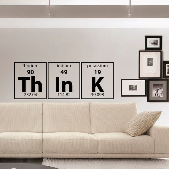 Periodic Table Of Elements Think Wall Decal Vinyl Lettering Decals Murals Office Kids Children Room Art Home Decor