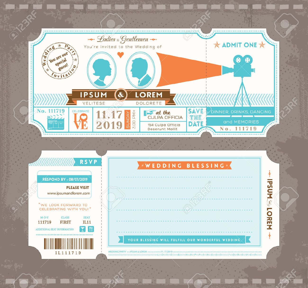 movie ticket wedding invitation template free - Google Search ...