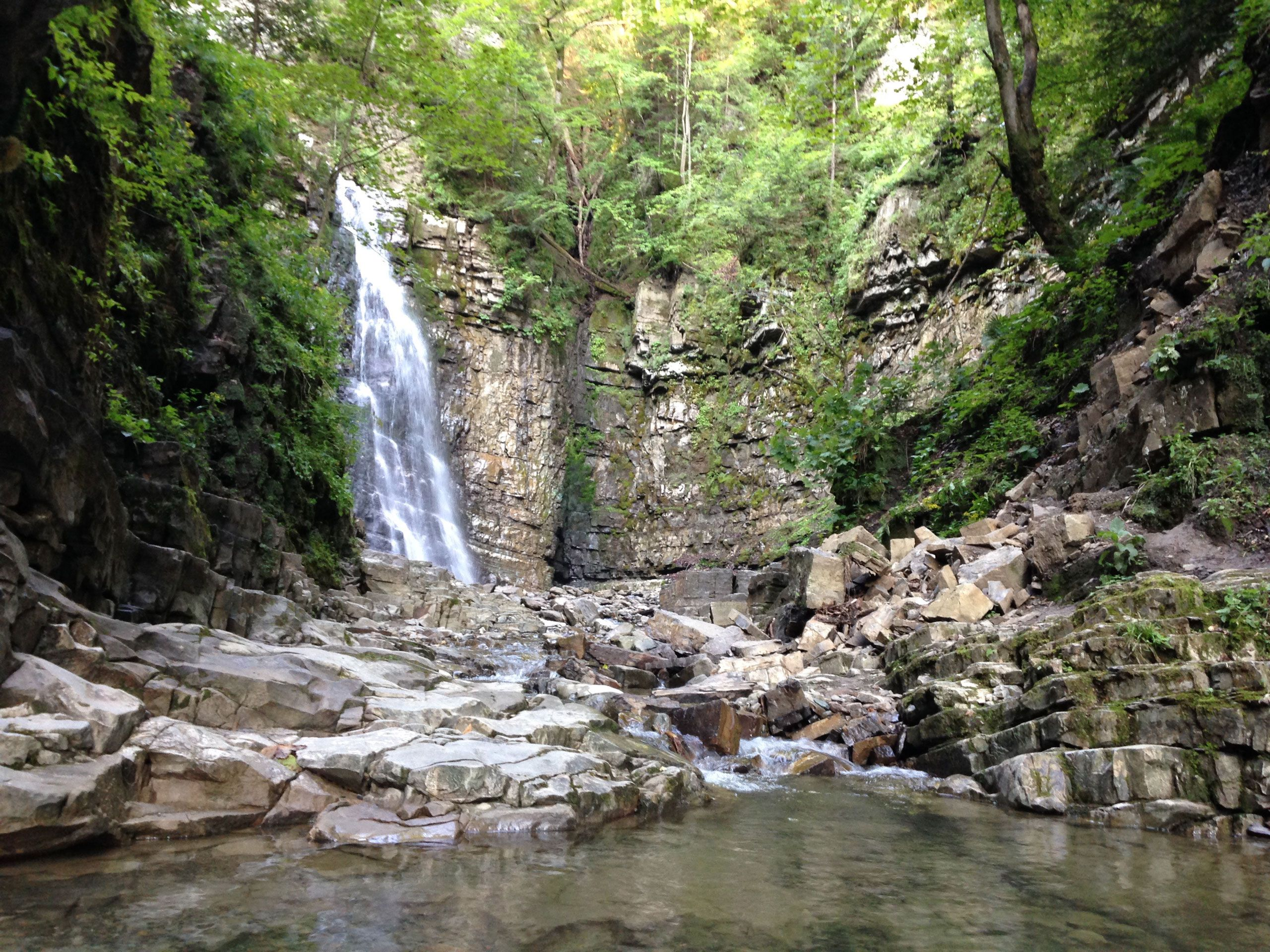 The highest waterfall in the Carpathian region and one of the highest in Ukraine. Maniava waterfall, Karpaty, Ukraine