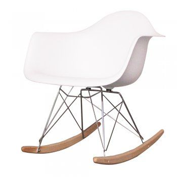 Charles Eames Style Cool White Plastic Retro Rocking Chair Eames