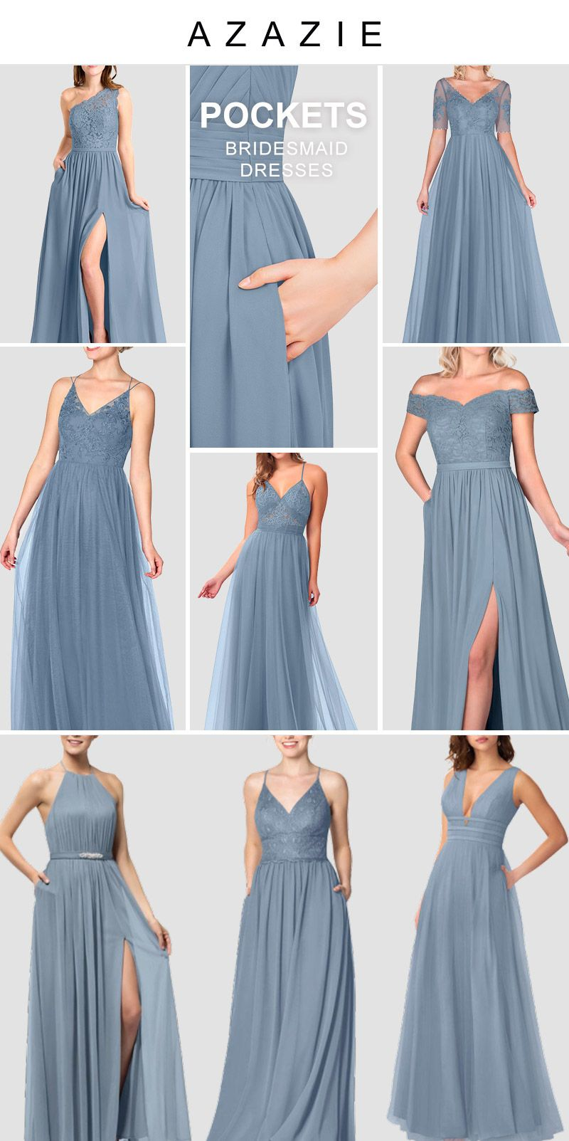 Dusty Blue Bridesmaid Dresses With Pockets In 2020 Pastel Bridesmaid Dresses Blue Bridesmaid Dresses Dusty Blue Bridesmaid Dresses