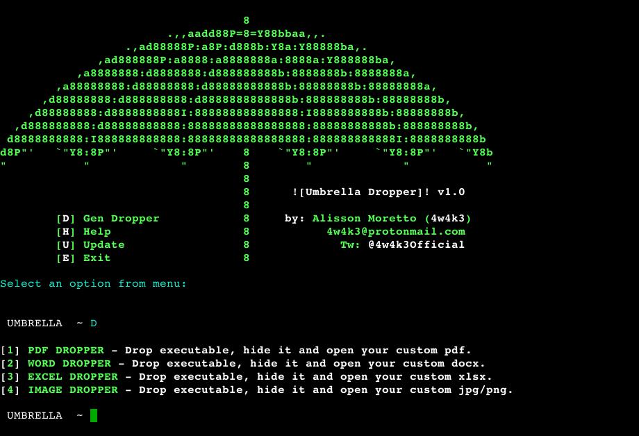Umbrella A Phishing Dropper Designed To Pentest Security List Network Informática Computadoras Tecnologia