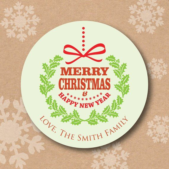 christmas stickers personalized round holiday gift labels merry christmas happy new year wreath stic