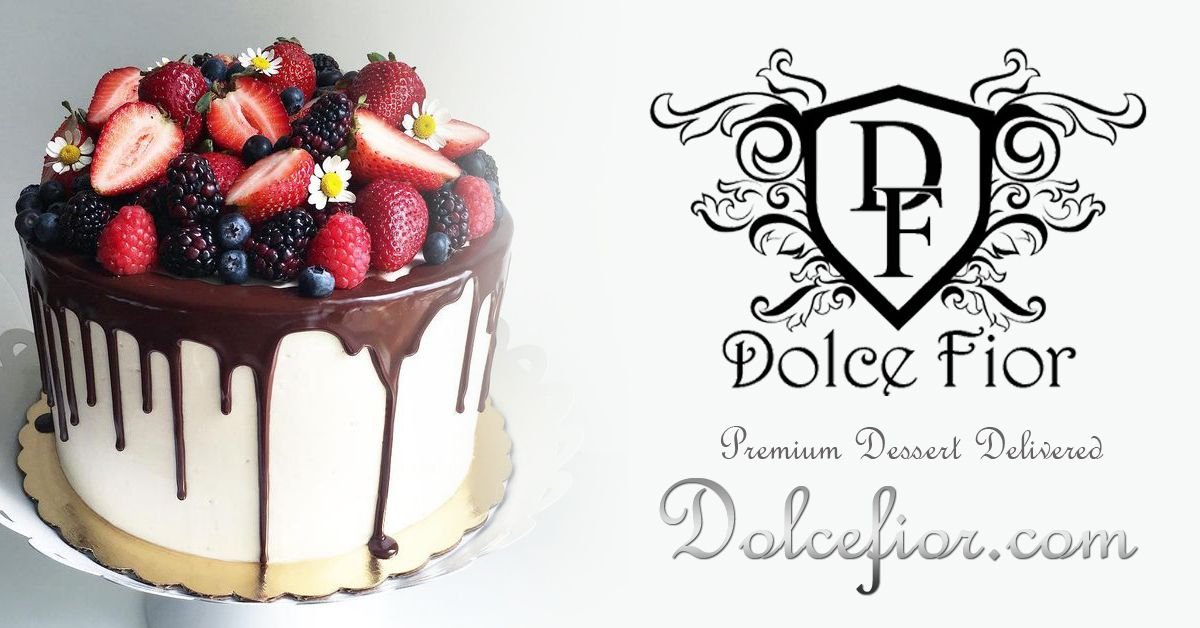 Dolce Fior Premium Desserts Delivered Cakes Sweets Gifts Ideas Wedding Fruit Dallas Texas Ganache Drip Special Occasion Events