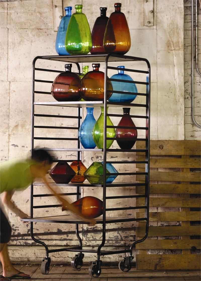 Industrial Iron and Mango Wood Rolling Bakers Rack