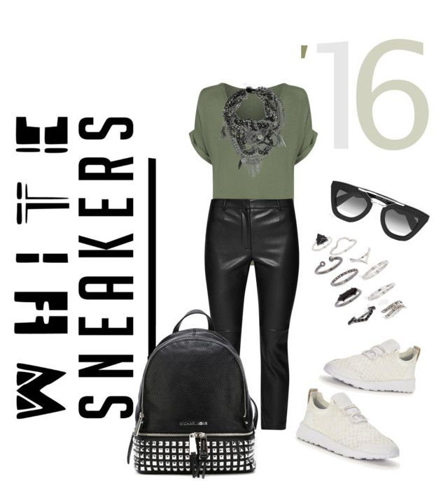 """""""KHAKI KAJ & WHITE SNEAKERS"""" by elenimoutevelis-1 ❤ liked on Polyvore featuring WearAll, adidas Originals, French Connection, MICHAEL Michael Kors, Topshop and Prada"""