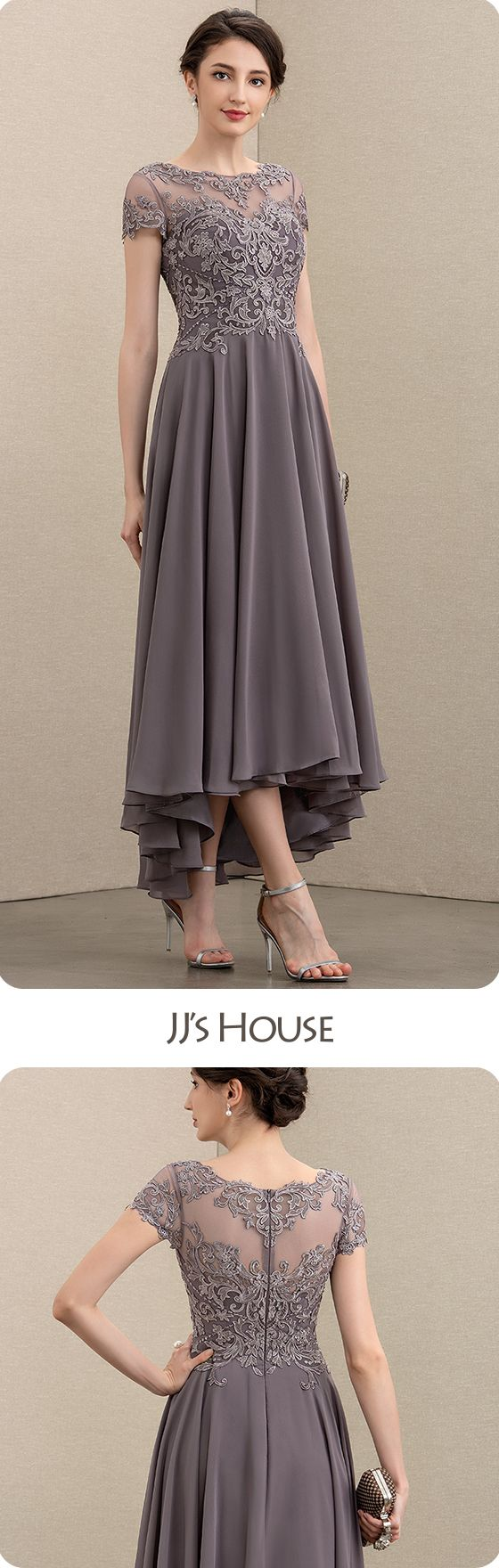 $147 A-Line Scoop Neck Asymmetrical Chiffon Lace Mother of the Bride Dress With Beading Sequins