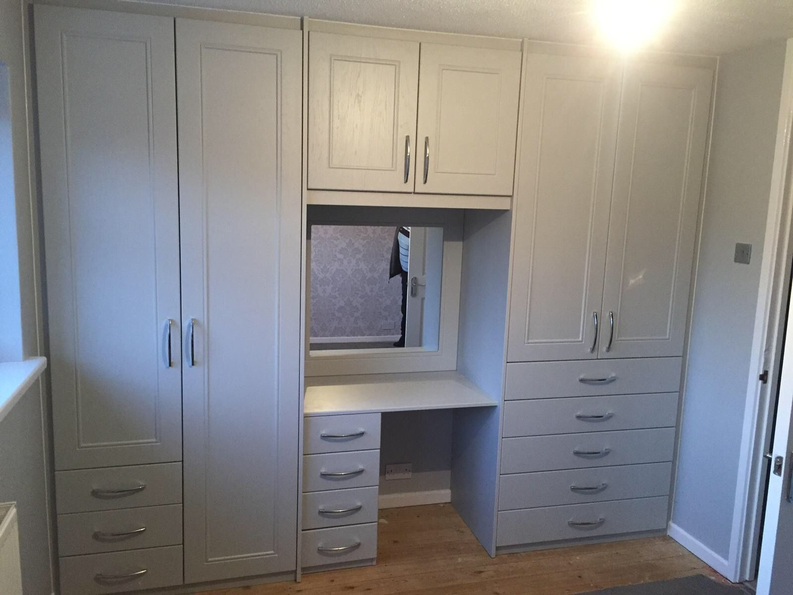 Built In Dressing Table Around Plenty Of Storage It S Painted Grey But We Ve Got Lots Built In Cupboards Bedroom Wardrobe With Dressing Table Build A Closet