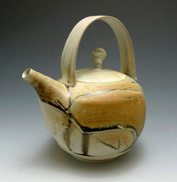 "Teapot  2012 Wheel throwing White stoneware with Slip Decorating, sprayed with multiple glaze. Man Ho ""Billy"" Cho"