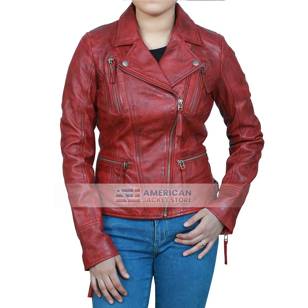 Womens Distressed Bikers Maroon Leather Jacket American Jacket Store Maroon Leather Jacket Leather Jackets Women Distressed Leather Jacket [ 1000 x 1000 Pixel ]
