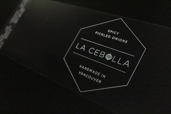 Clear labels with white for La Cebolla -- spicy pickled onions handmade in Vancouver. https://t.co/T2K0Ohl656