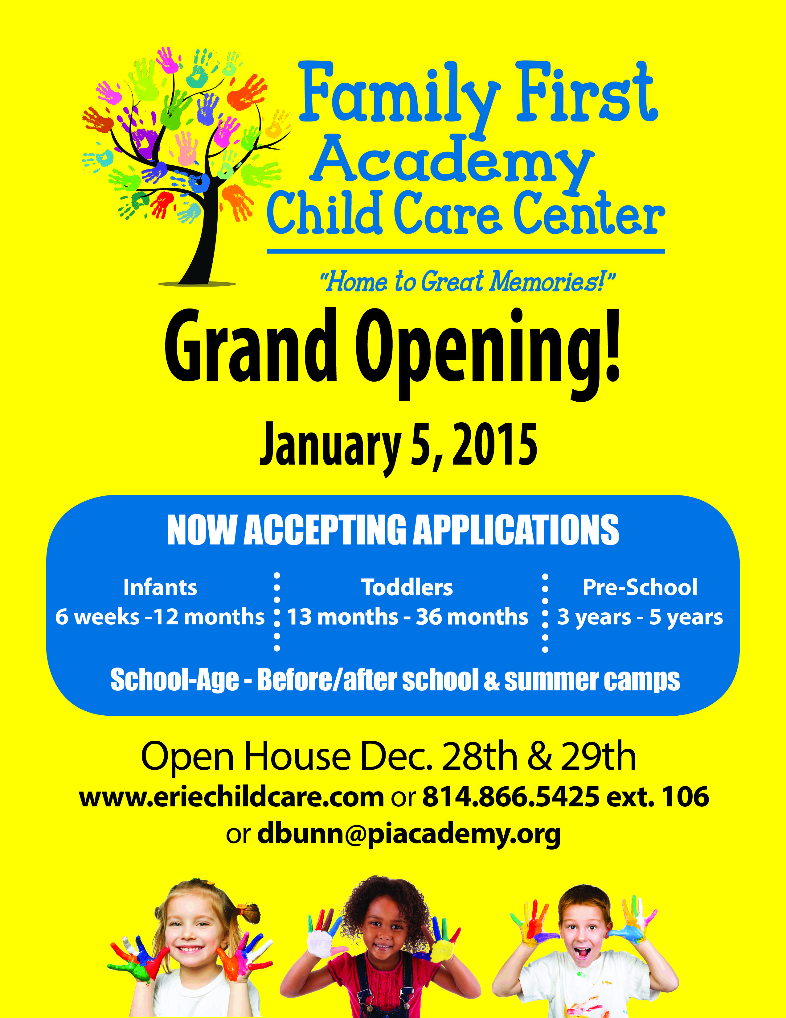 It S Finally Here The Grand Opening Of Family First Academy Child Care Is January 5th Be Sure To Come I Train Activities Family First Education And Training