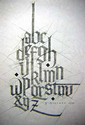 ✍ Sensual Calligraphy Scripts ✍  initials, typography styles and calligraphic art -  Gerald Moscato - pencil on paper